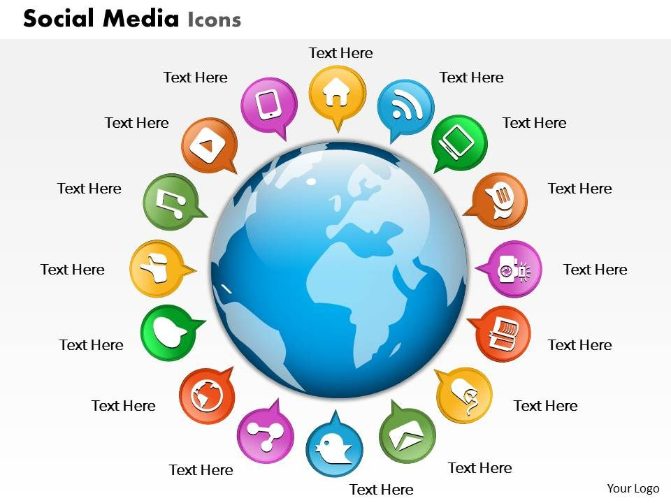 Business Plan Social Media Icons Globe Powerpoint