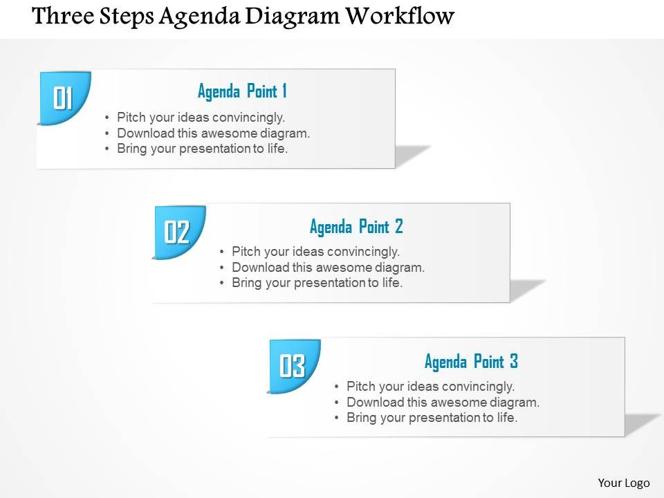 0914 business plan three steps agenda diagram workflow powerpoint, Presentation templates