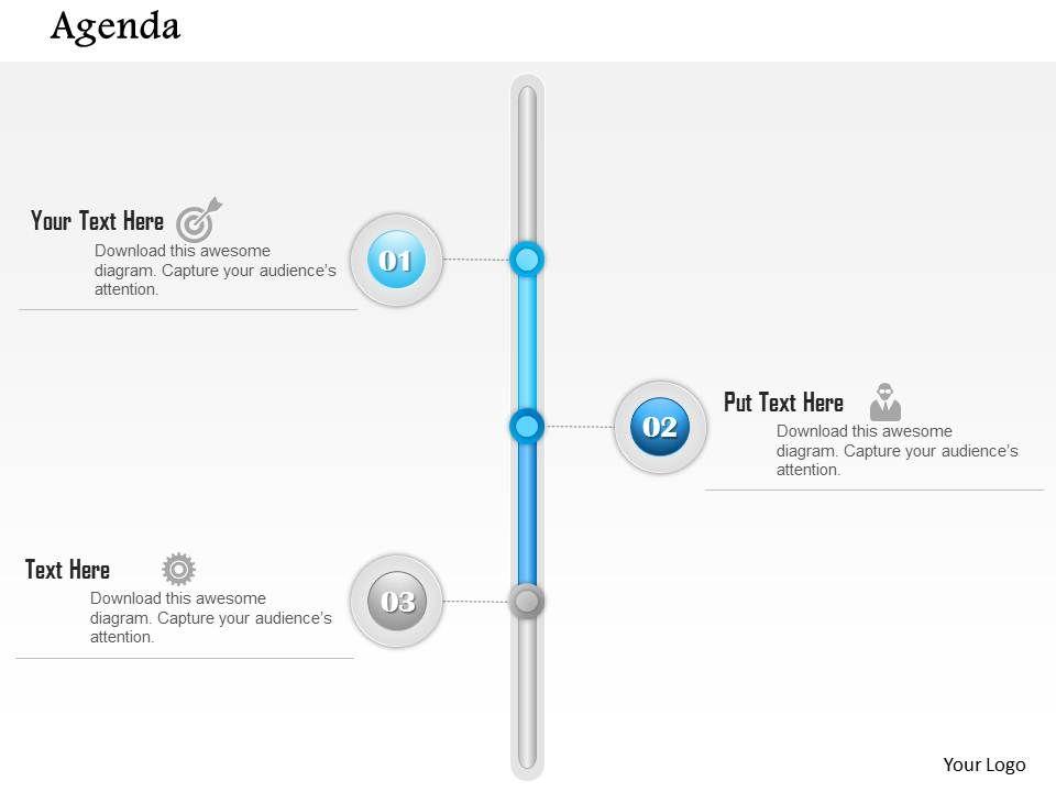 0914 business plan vertical three point agenda diagram powerpoint, Presentation templates