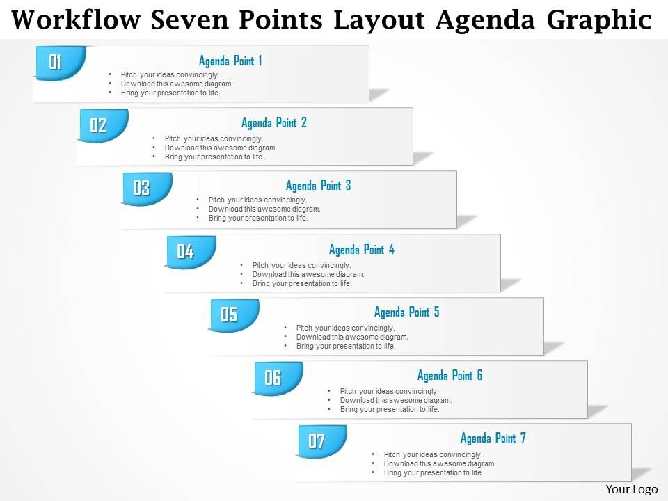 0914 business plan workflow seven points layout agenda graphic, Presentation templates