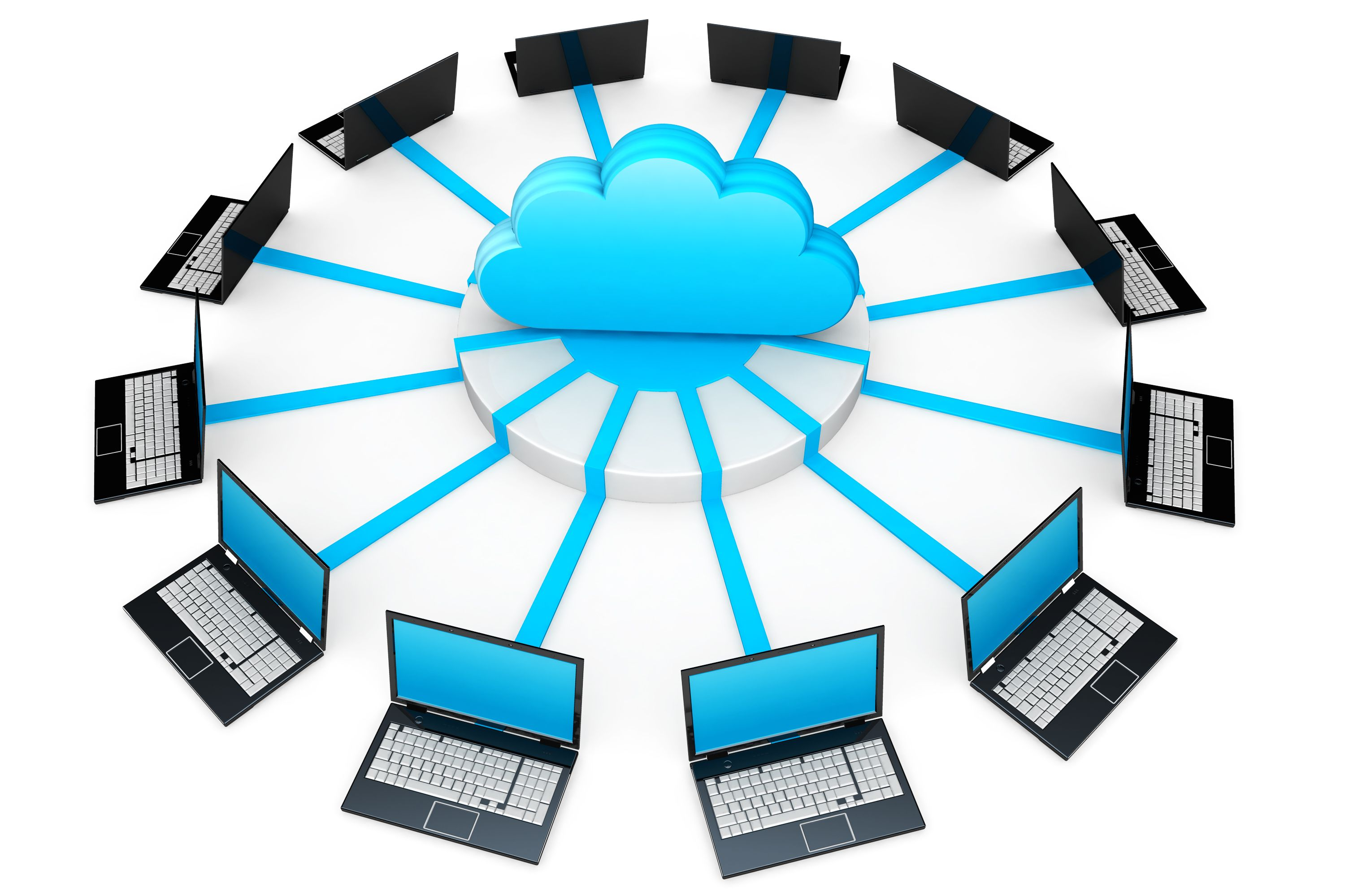 0914_network_of_laptops_connected_around_cloud_for_cloud_computing_stock_photo_Slide01
