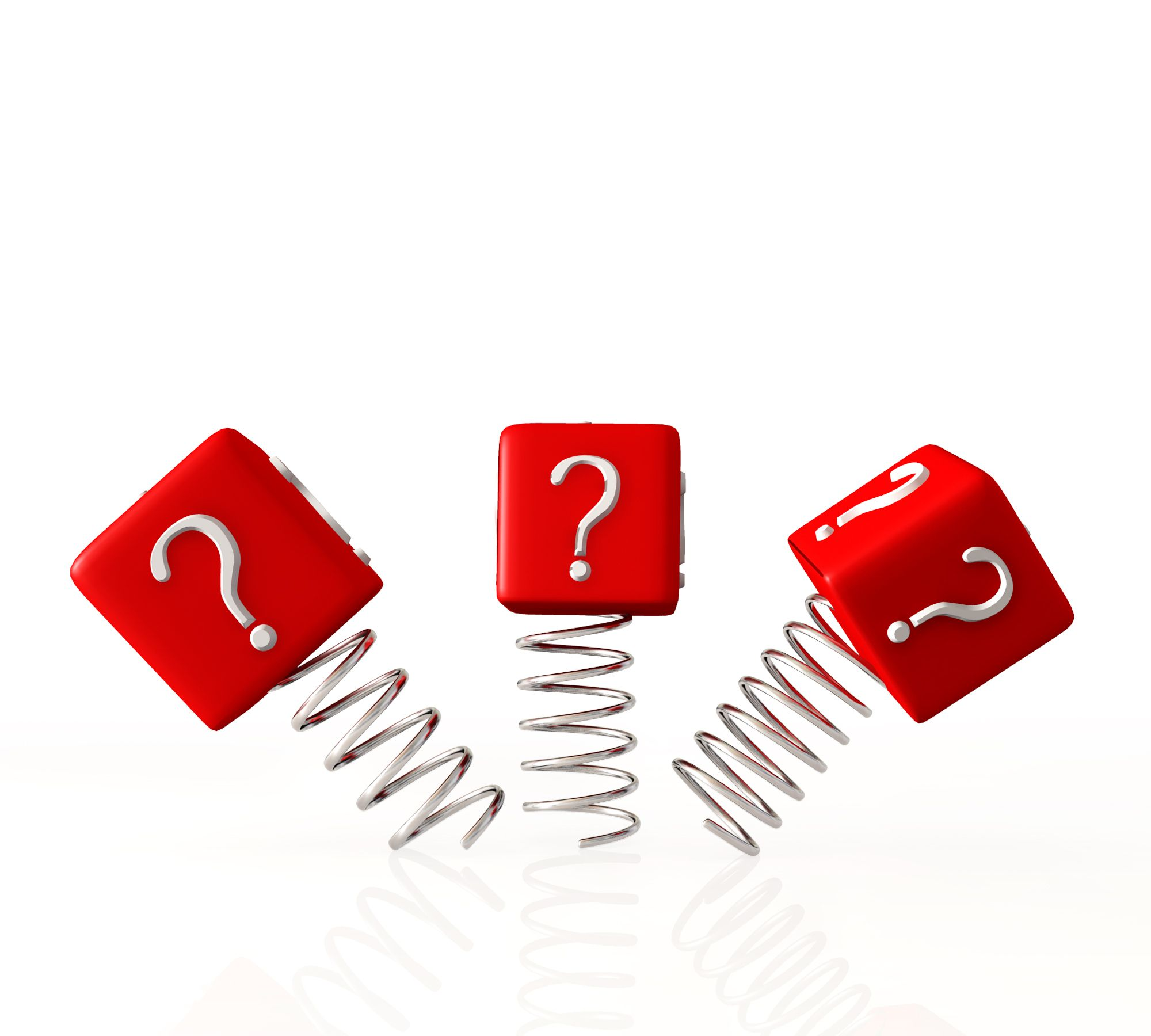 0914 Question Marks On Red Cubes And Springs Graphic Stock Photo ...