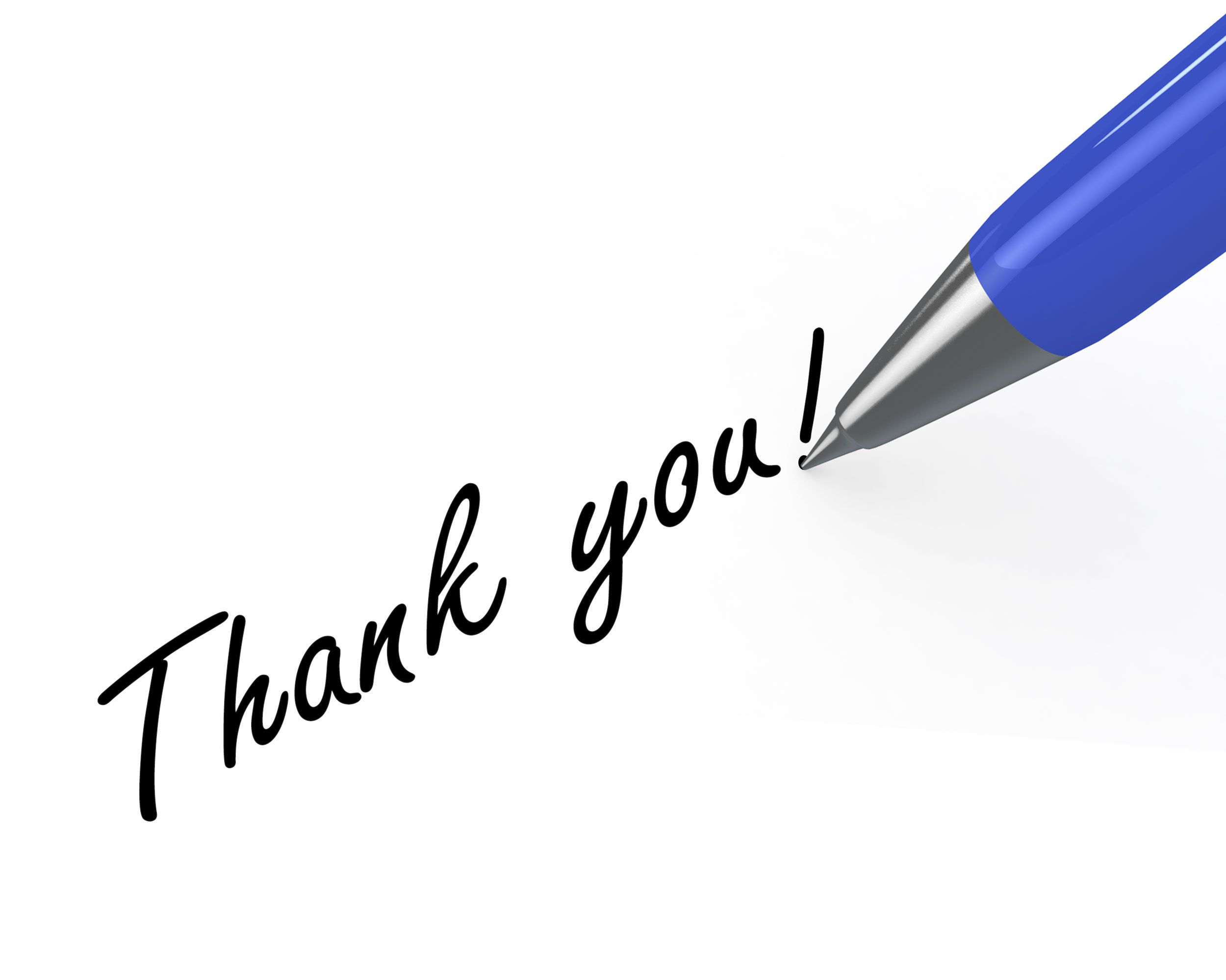 0914 thank you note with blue pen on white background stock photo, Presentation templates