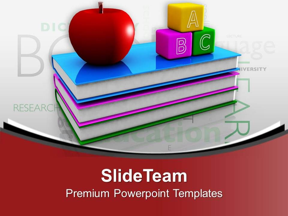 1013_books_with_apple_and_blocks_education_theme_powerpoint_templates_ppt_themes_and_graphics_Slide01
