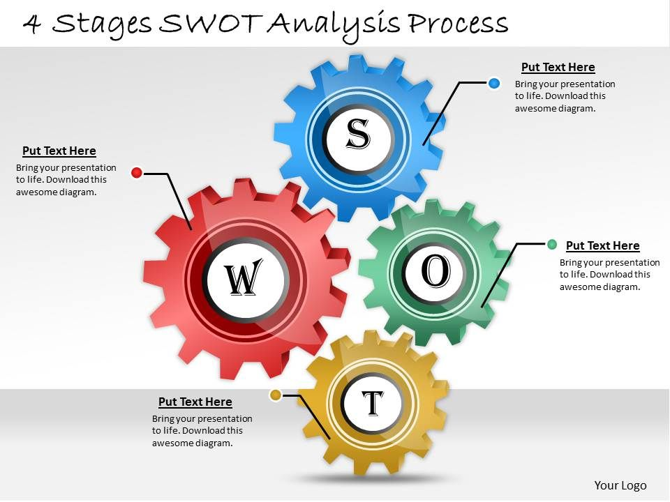 Award Winning Marketing Slides showing business swot analysis ...