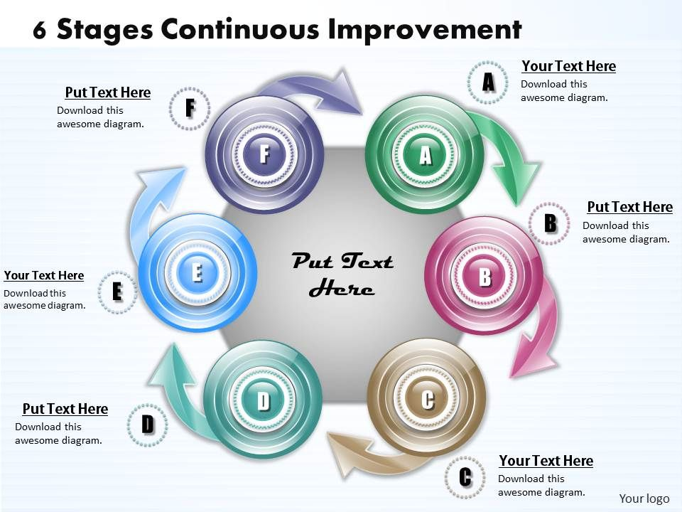 1013 busines ppt diagram 6 stages continuous improvement for Continual service improvement template