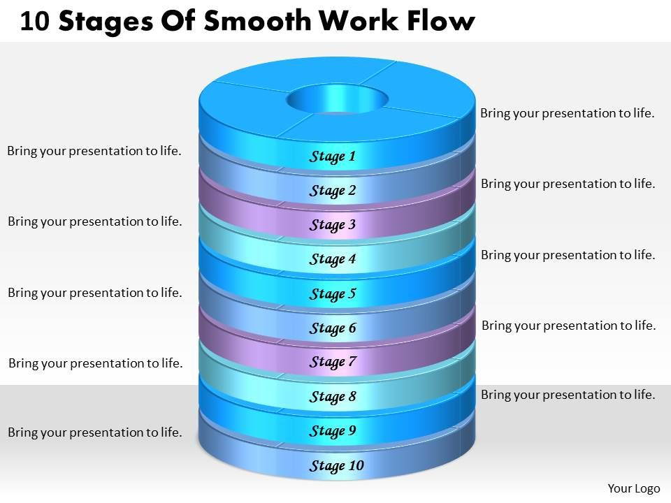 1013_business_ppt_diagram_10_stages_of_smooth_work_flow_powerpoint_template_Slide01