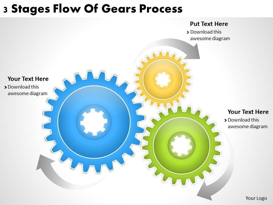 1013 Business Ppt Diagram 3 Stages Flow Of Gears Process Powerpoint