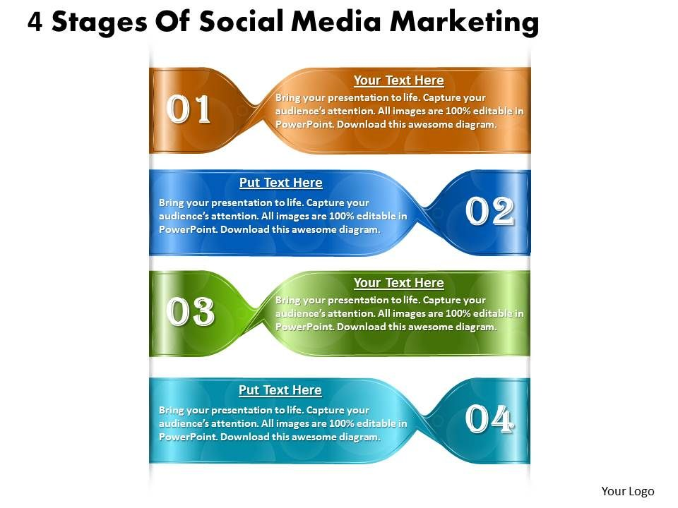 1013 business ppt diagram 4 stages of social media marketing, Presentation templates