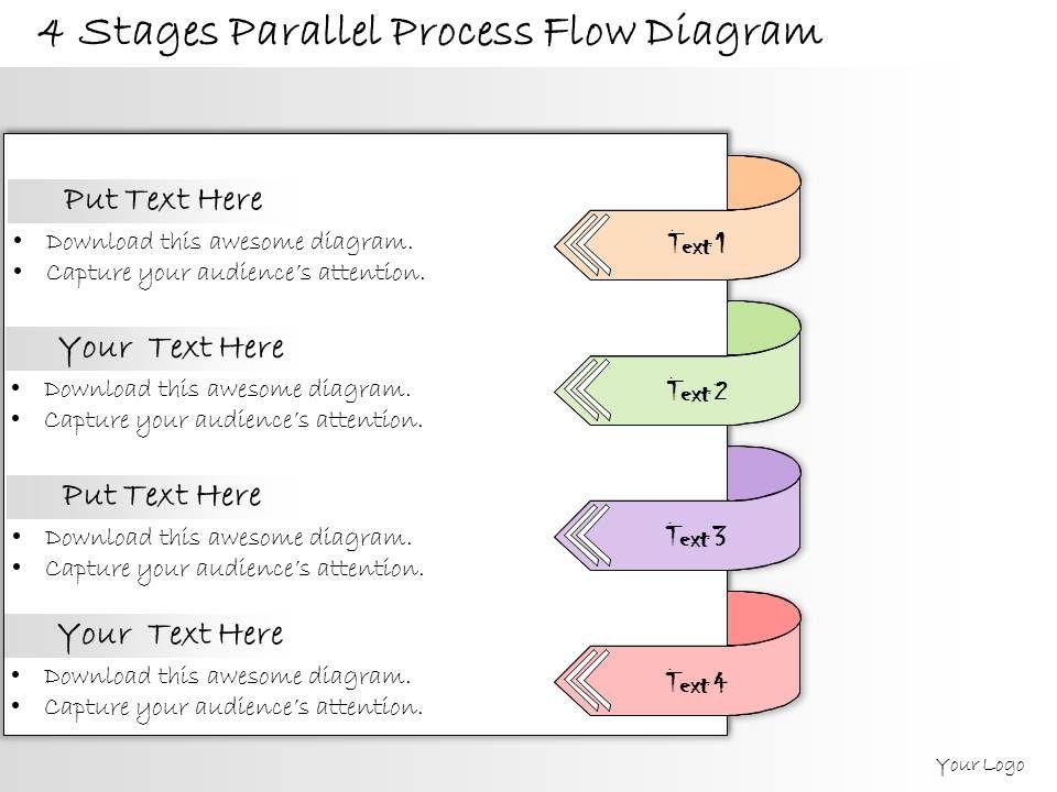 1013 Business Ppt Diagram 4 Stages Parallel Process Flow Diagram