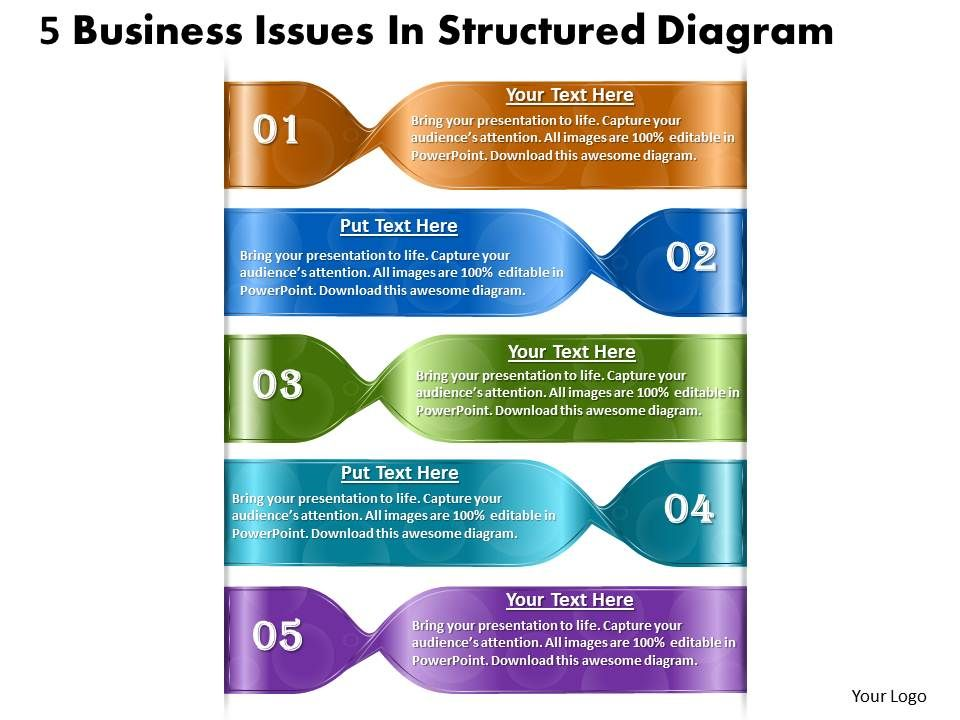 1013_business_ppt_diagram_5_business_issues_in_structured_diagram_powerpoint_template_Slide01