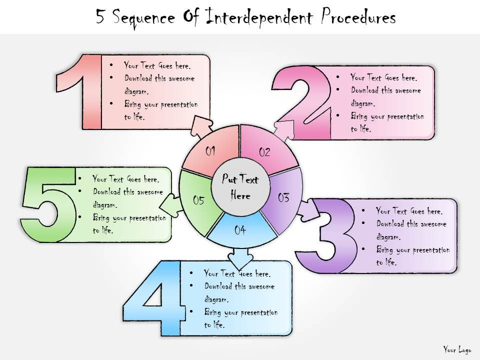 1013_business_ppt_diagram_5_sequence_of_interdependent_procedures_powerpoint_template_Slide01