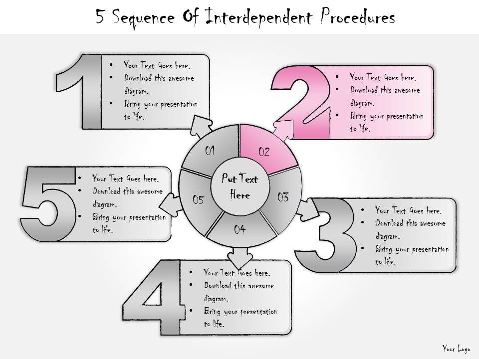 1013 Business Ppt Diagram 5 Sequence Of Interdependent ...