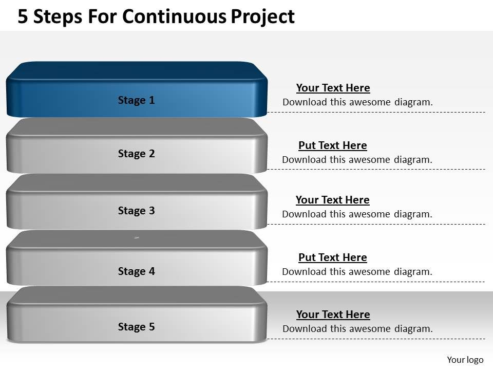 1013 business ppt diagram 5 steps for continuous project review, Presentation templates
