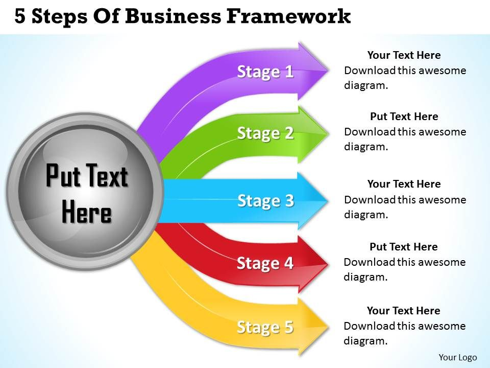 1013 business ppt diagram 5 steps of business framework powerpoint
