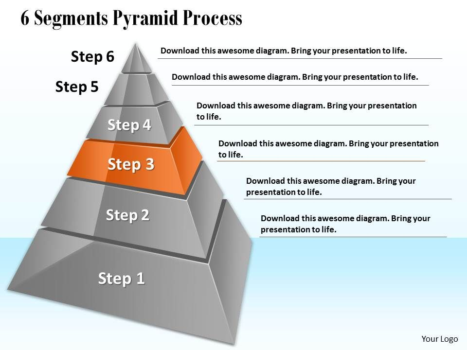 1013 Business Ppt Diagram 6 Segments Pyramid Process Powerpoint