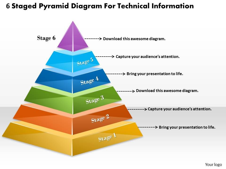 1013 Business Ppt Diagram 6 Staged Pyramid For Technical Information Point Template Slide01