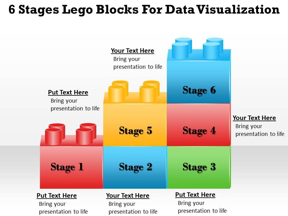 1013 Business Ppt Diagram 6 Stages Lego Blocks For Data
