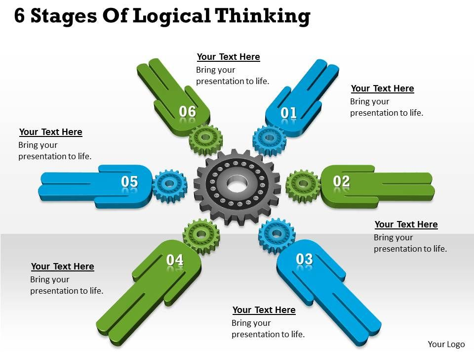 1013 Business Ppt Diagram 6 Stages Of Logical Thinking