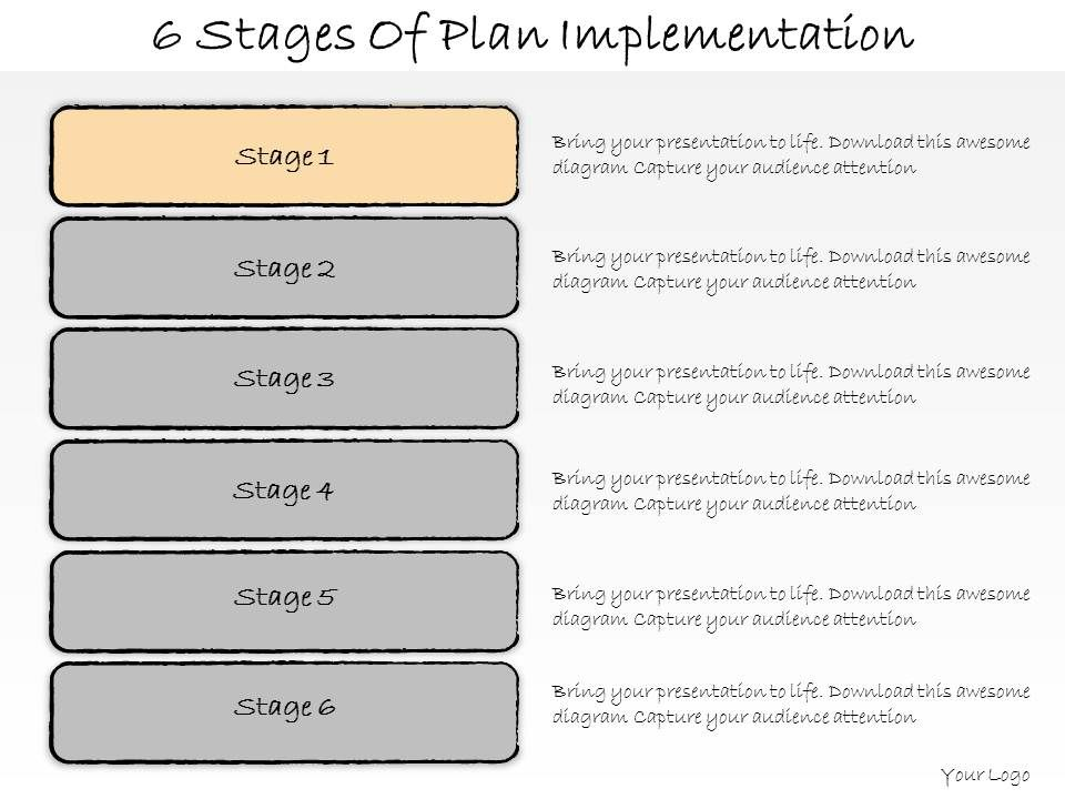 1013 Business Ppt Diagram 6 Stages Of Plan Implementation