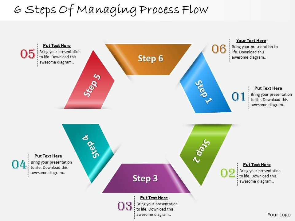 1013 business ppt diagram 6 steps of managing process flow, Modern powerpoint
