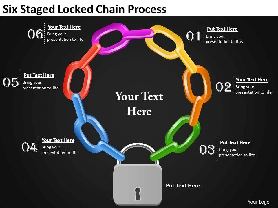 1013 project management consultancy six staged locked chain, Powerpoint templates