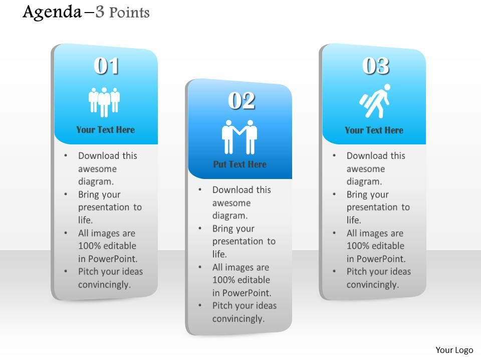 1014 business plan three points agenda vertical text bars, Presentation templates