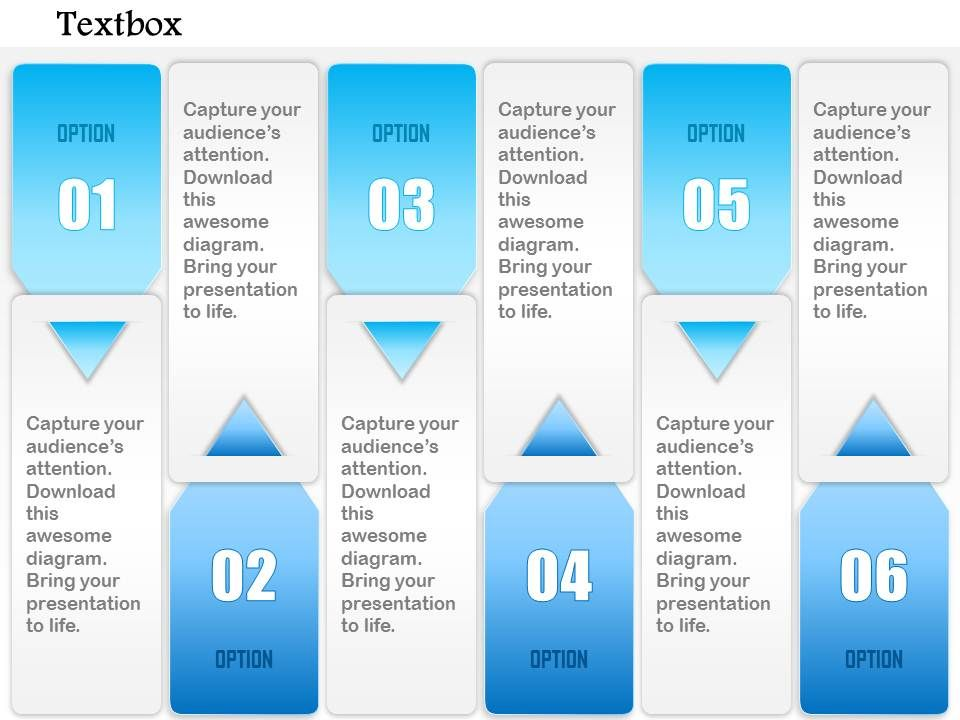 1014 Six Options Vector Textboxes Powerpoint Template