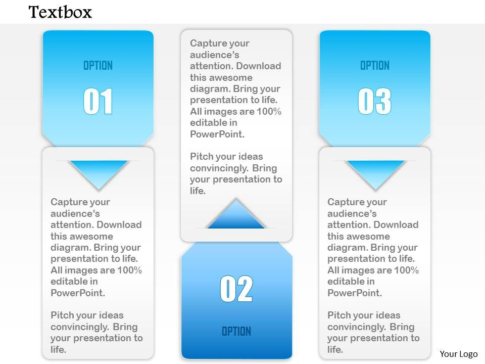 1014 Three Options Arrow Insert Textbox Design Powerpoint Template