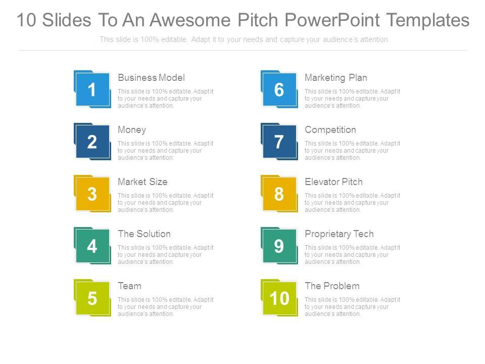 10 Slides To An Awesome Pitch Powerpoint Templates Templates