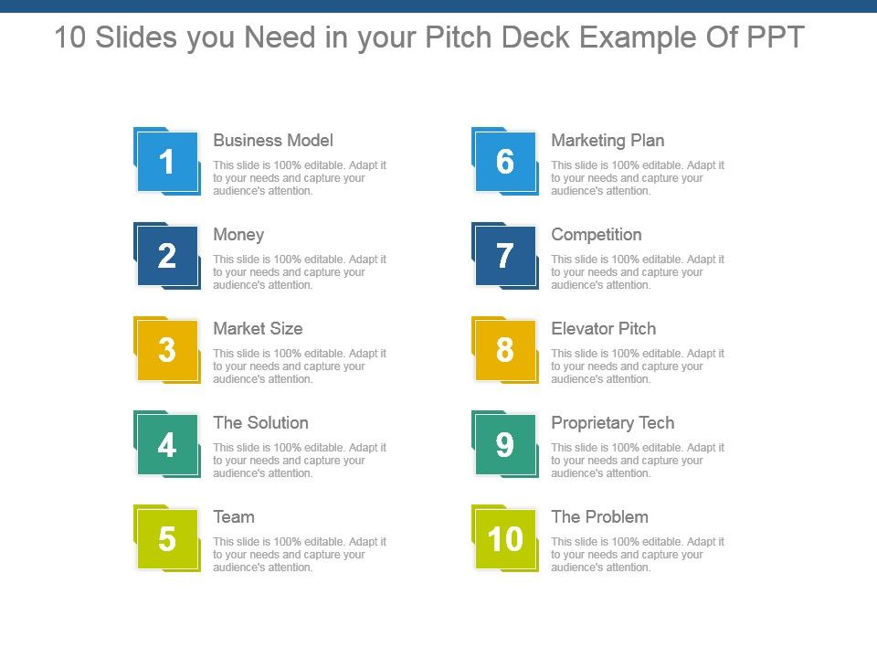 10 Slides You Need In Your Pitch Deck Example Of Ppt