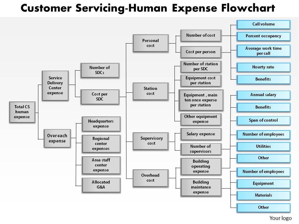 1103 Customer Servicing Human Expense Flowchart Powerpoint