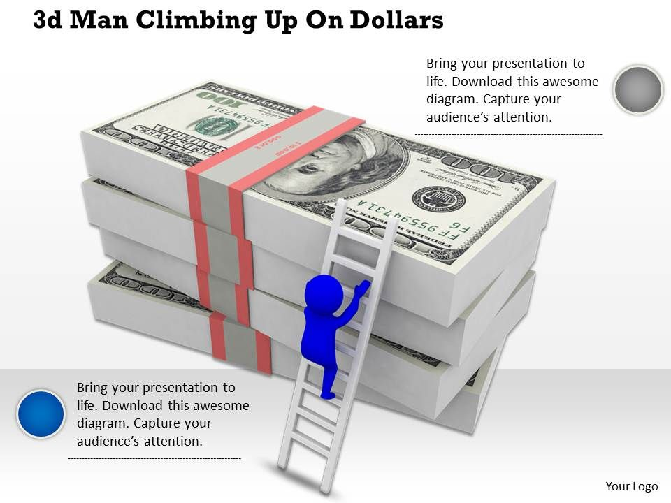 1113_3d_man_climbing_up_on_dollars_ppt_graphics_icons_powerpoint_Slide01