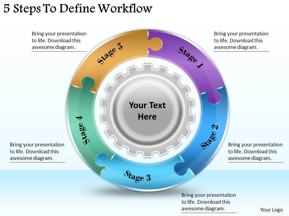 define template in powerpoint - 1113 business ppt diagram 5 steps to define workflow