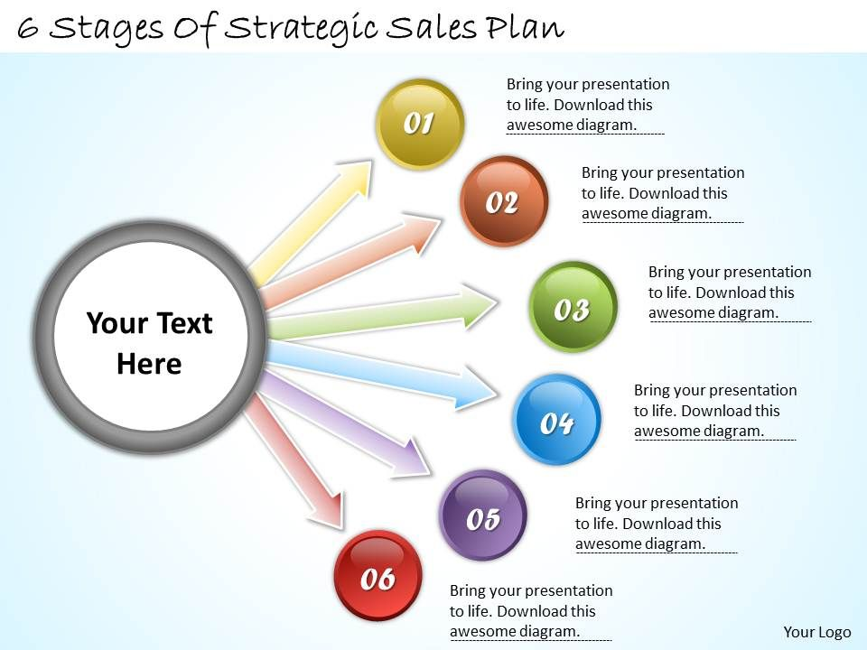 1113 business ppt diagram 6 stages of strategic sales plan, Modern powerpoint