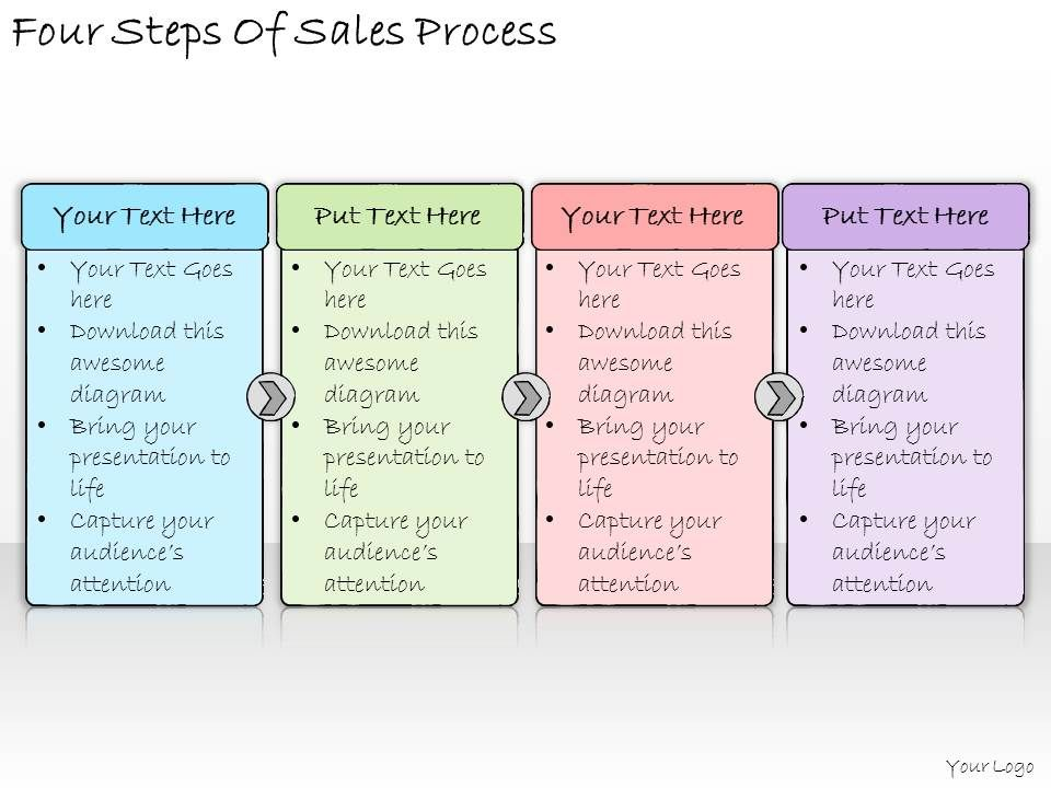 1113 Business Ppt Diagram Four Steps Of Sales Process Powerpoint ...