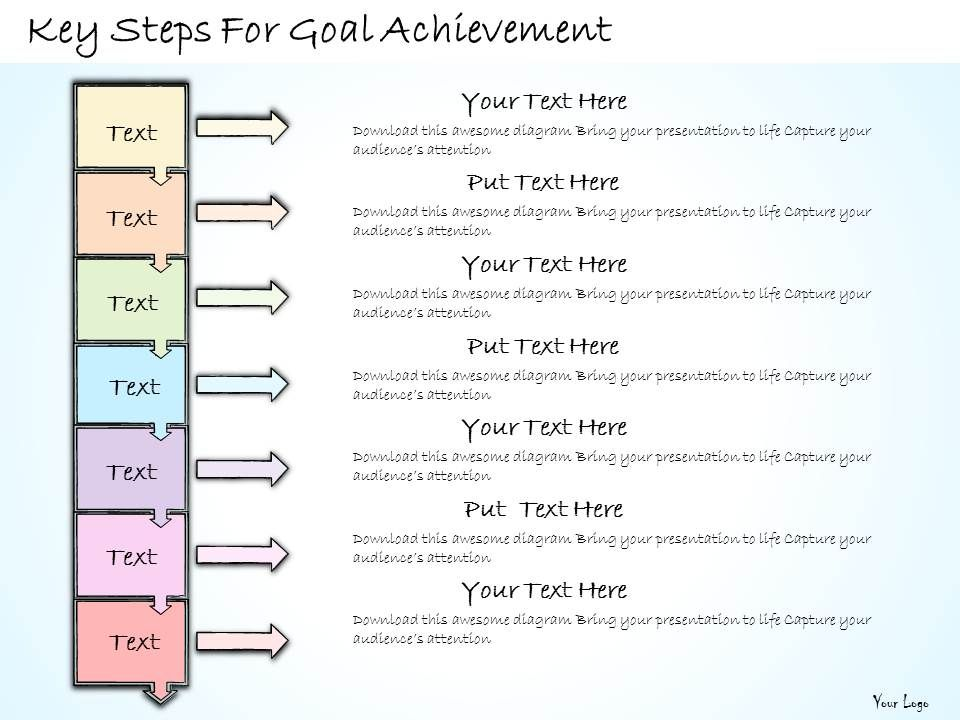 1113 Business Ppt Diagram Key Steps For Goal Achievement Powerpoint Template Slide01