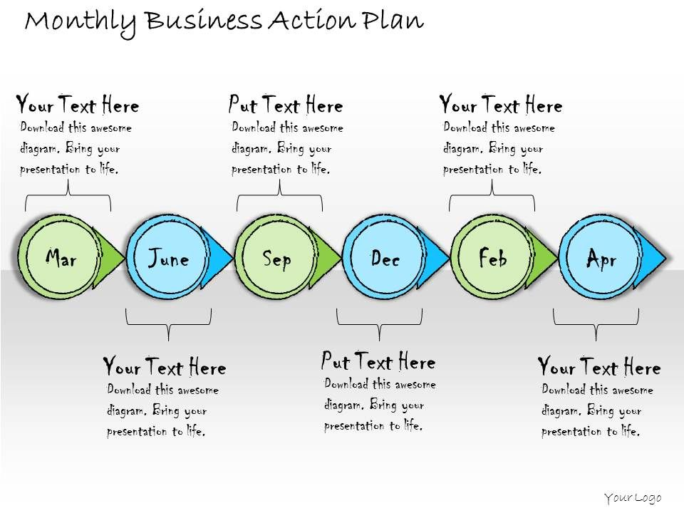 Business Ppt Diagram Monthly Business Action Plan Powerpoint