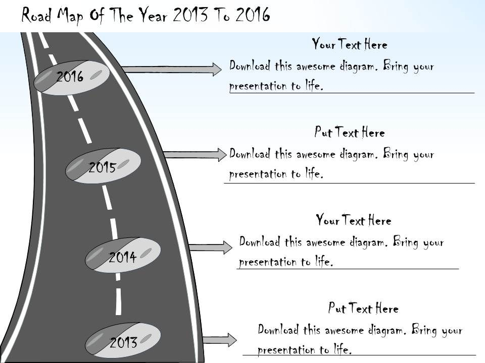 1113_business_ppt_diagram_road_map_of_the_year_2013_to_2016_powerpoint_template_Slide01