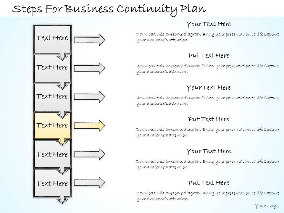 1113 Business Ppt Diagram Steps For Business Continuity Plan