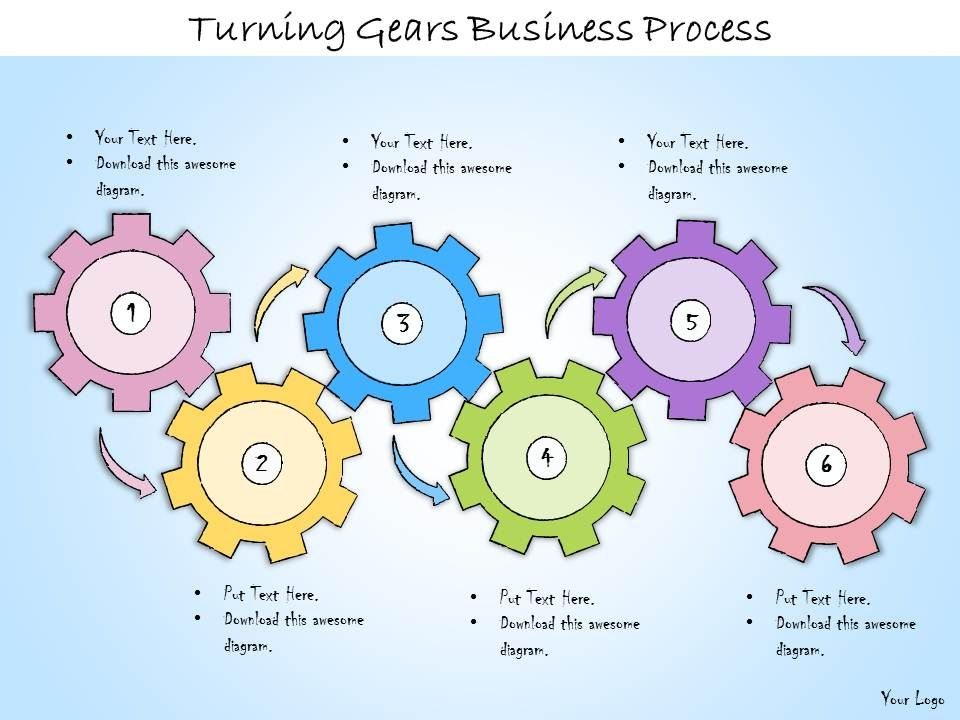 1113 Business Ppt Diagram Turning Gears Business Process Powerpoint