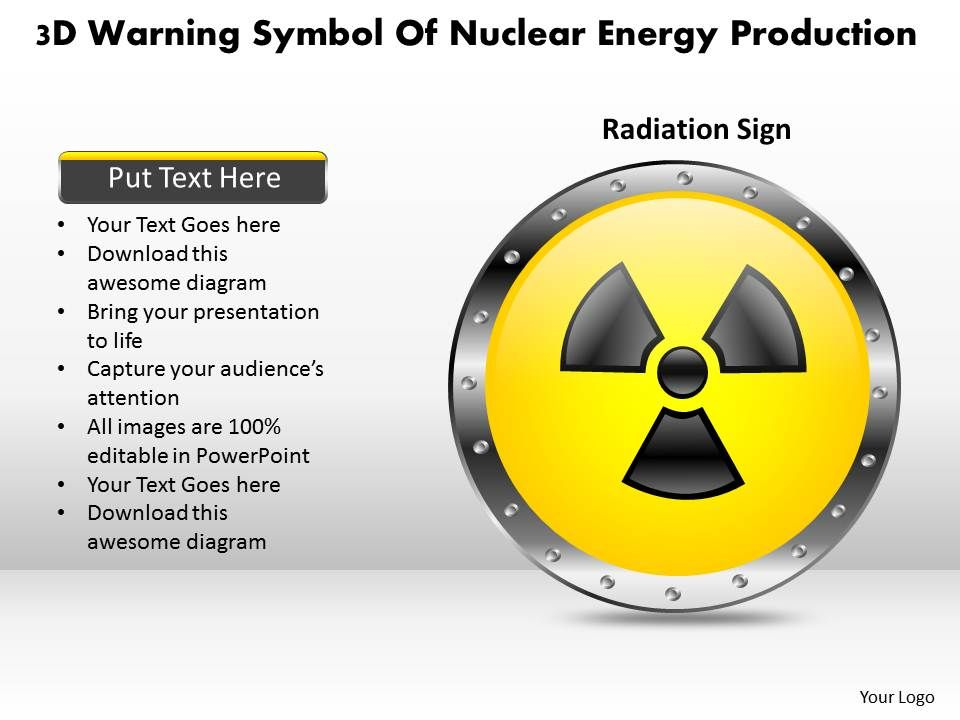 1114 3d warning symbol of nuclear energy production powerpoint, Powerpoint templates