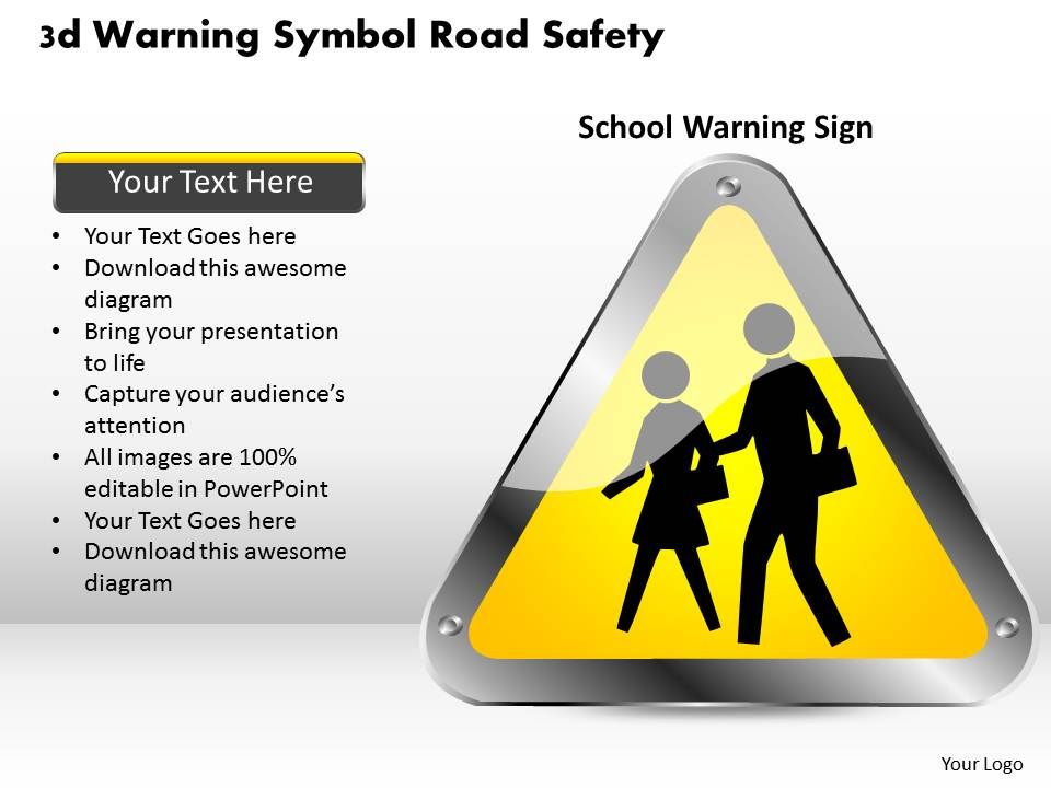 1114 3d Warning Symbol Road Safety Powerpoint Template – Safety Powerpoint Template