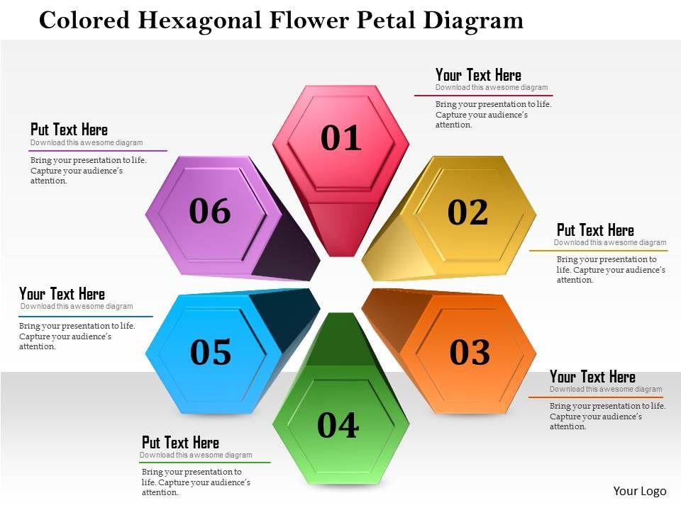 1114 Colored Hexagon Flower Petal Diagram Powerpoint Template Ppt