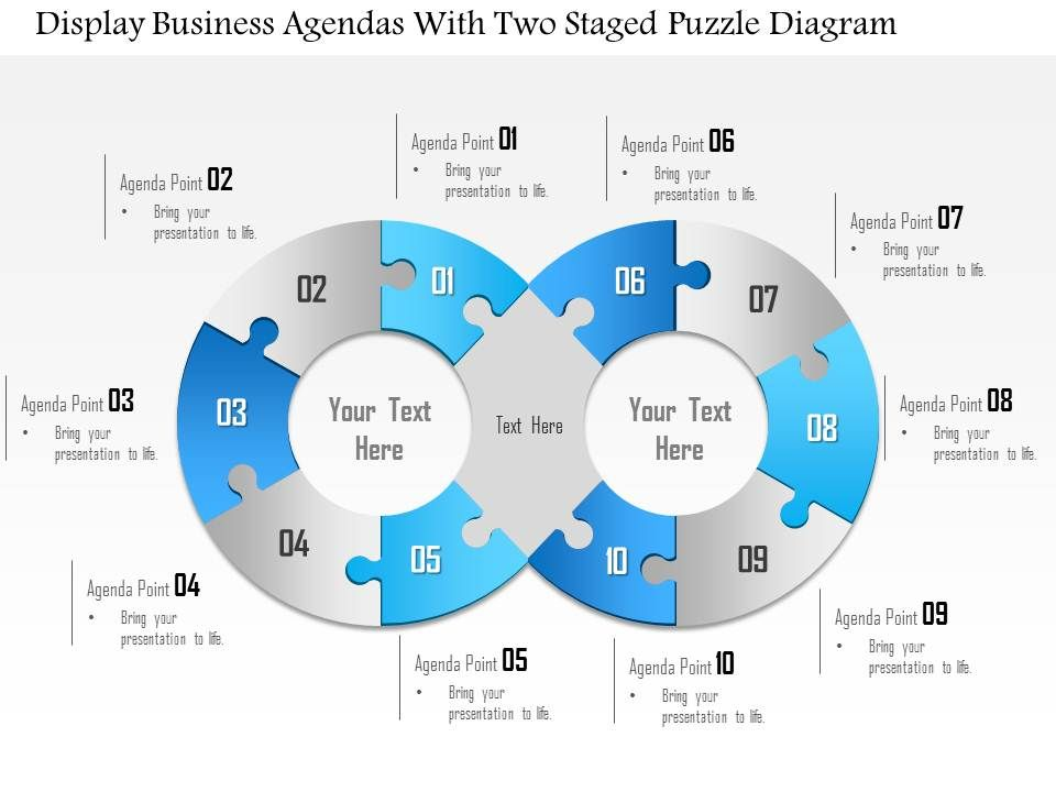 1114 Display Business Agendas With Two Staged Puzzle Diagram Point Template Slide01