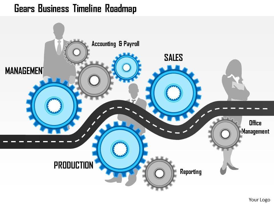 1114 Gears Business Timeline Roadmap Powerpoint Presentation Slide01