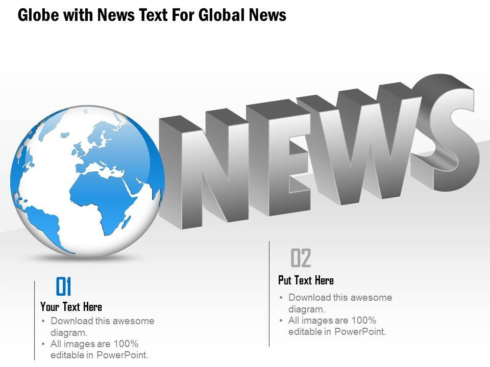 1114 globe with news text for global news powerpoint template, Modern powerpoint