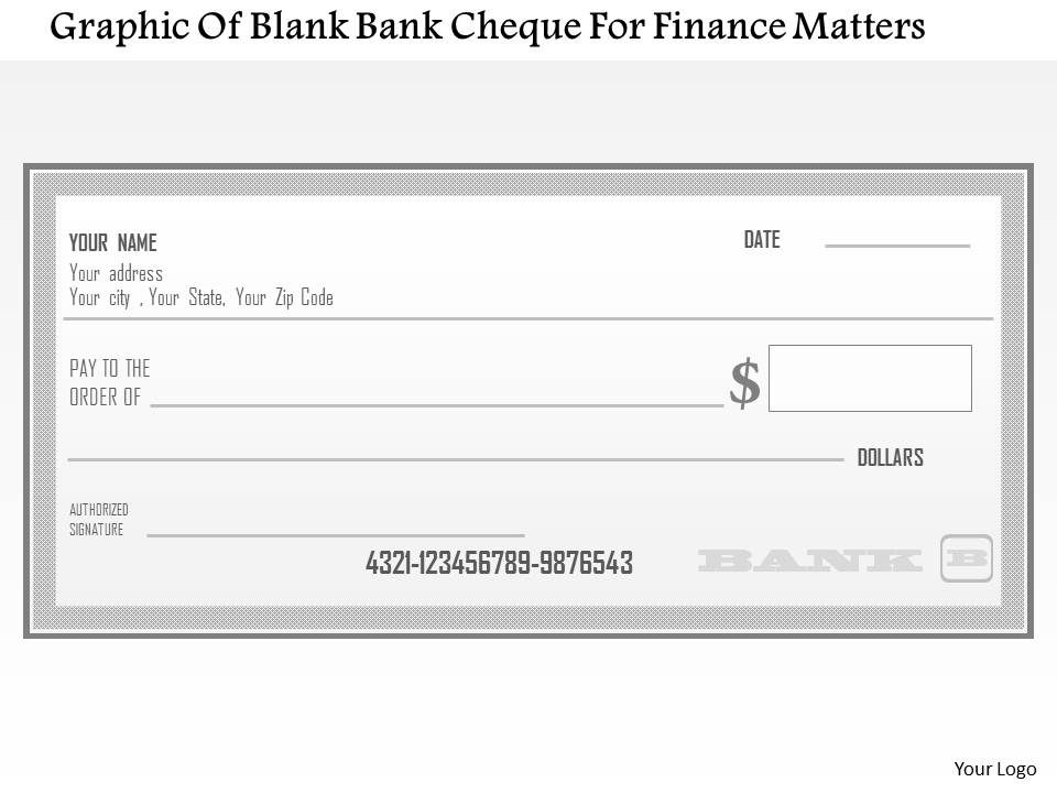 1114 graphic of blank bank cheque for finance matters powerpoint