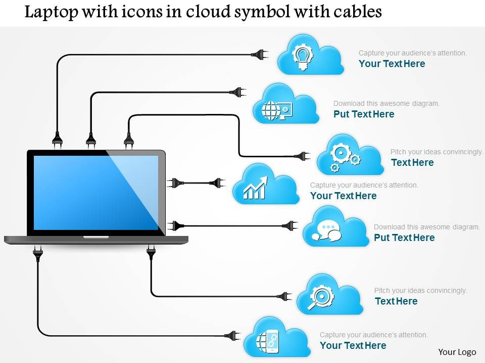 1114 Laptop With Icons In Cloud Symbol With Cables Connected To