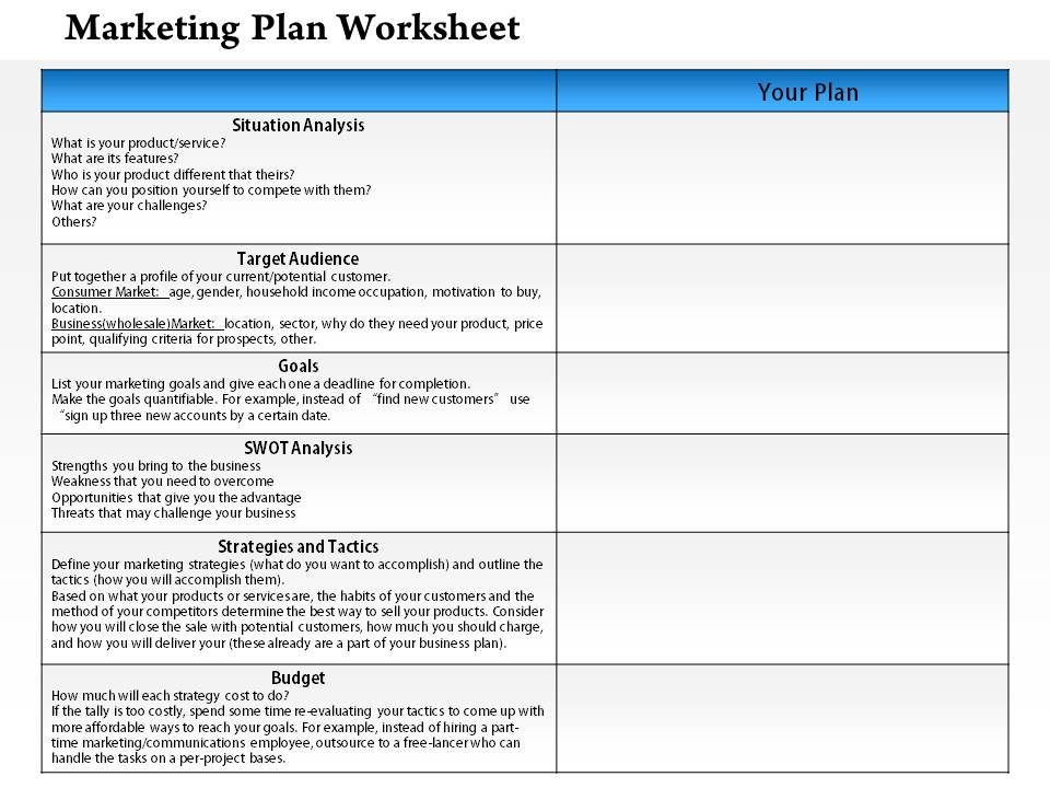 Worksheets Marketing Plan Worksheet 1114 marketing plan worksheet powerpoint presentation